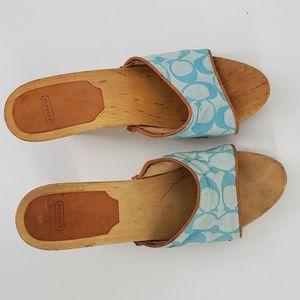 Coach Open Toe Slip on Heels Sandals Mules Size 7